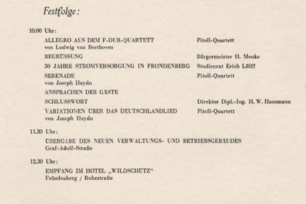 Anlässlich des Richtfestes für das neue Verwaltungsgebäude der Stadtwerke Fröndenberg vor 65 Jahren gab es im Saal des damaligen Kinos Schauburg ein Festprogramm.