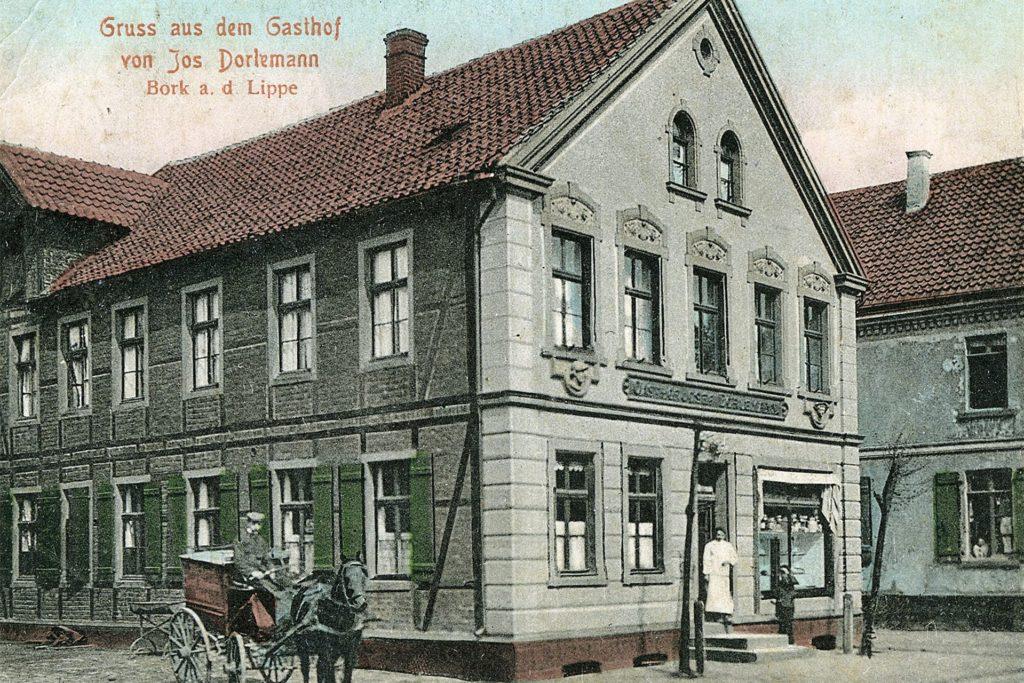 Haus Dörlemann in Bork: ein Gasthaus mit Tradition, wie diese alte Postkarte zeigt.