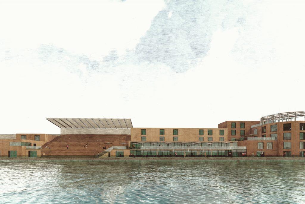 Die Fassadenansicht der Surfwelt, die mit nachhaltigen Materialen gestaltet werden soll.