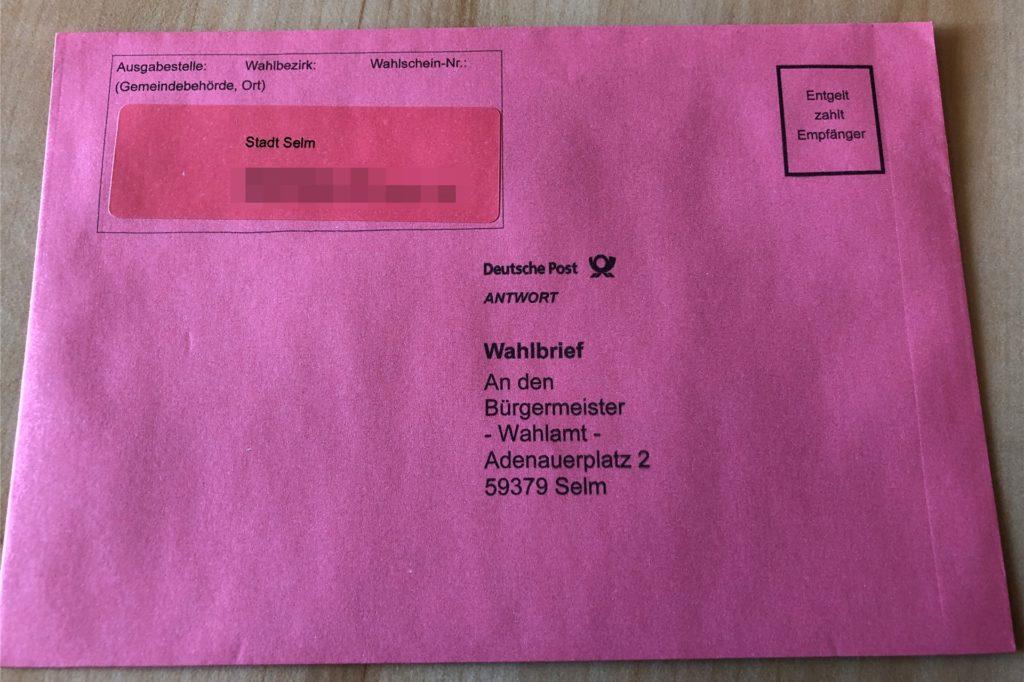Die Briefwahlunterlagen müssen per Post an die Stadt Selm geschickt werden.