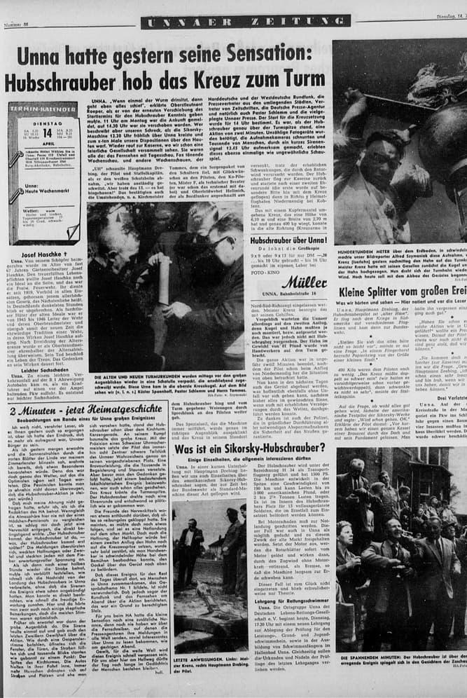 Eine ganze Seite und ein Foto auf dem Titelblatt widmete der Hellweger Anzeiger dem Ereignis in seiner Ausgabe vom 14. April 1959. Für damalige Verhältnisse war das ungewöhnlich viel Raum.