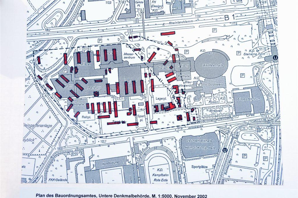 Die roten Kästchen auf dem Bebauungsplan des Areals um die Westfalenhalle stellen die Barackenstandorte dar.