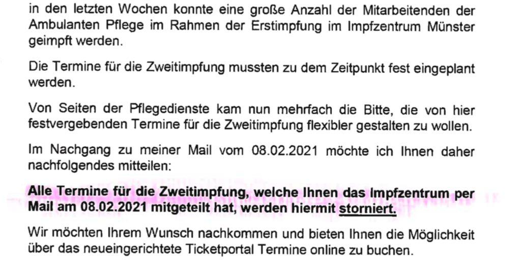 Dieses Schreiben hat der Pflegedienst Julia am Dienstag (23. Februar) von der Stadt Münster erhalten.