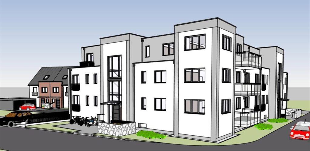"""Rechts die Märkische Straße, links die Straße """"Zum Mühlbach"""": So sollen die Häuser für das Eckgrundstück aussehen."""