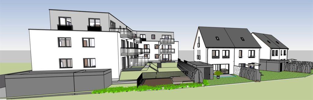 Die Doppelhäuser werden über eine Privatstraße erschlossen, hier eine Ansicht aus Südwesten.