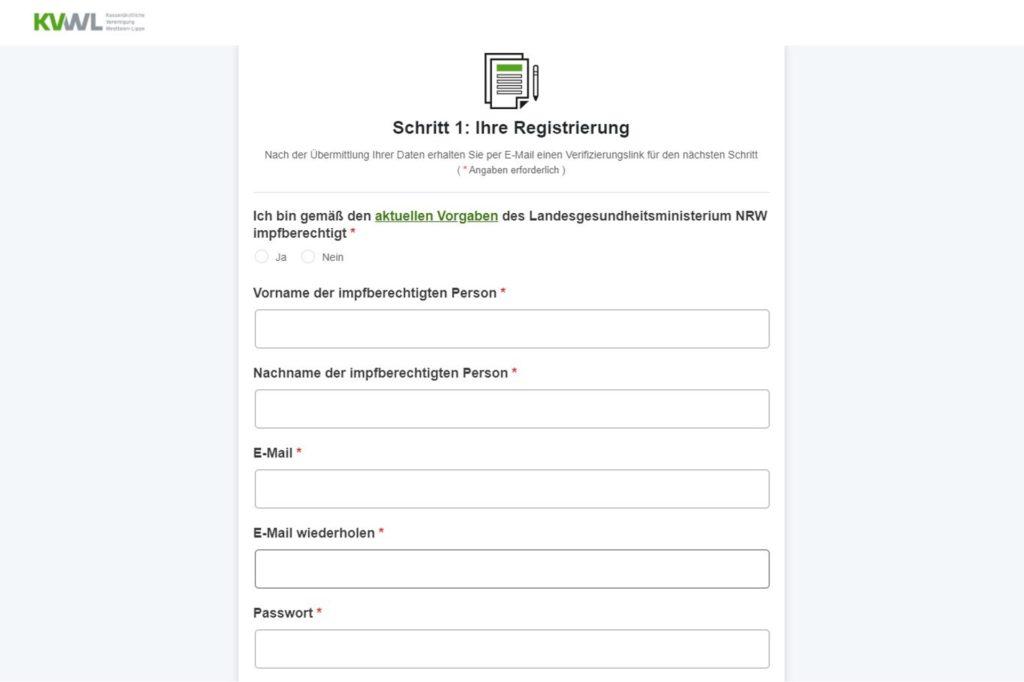 """Registrierungsformular für das Impftermin-Buchungsportal. Wer """"Ja"""" anklickt, bekommt ein Benutzerkonto. """"Verboten ist das nicht"""", sagt eine KVWL-Sprecherin."""