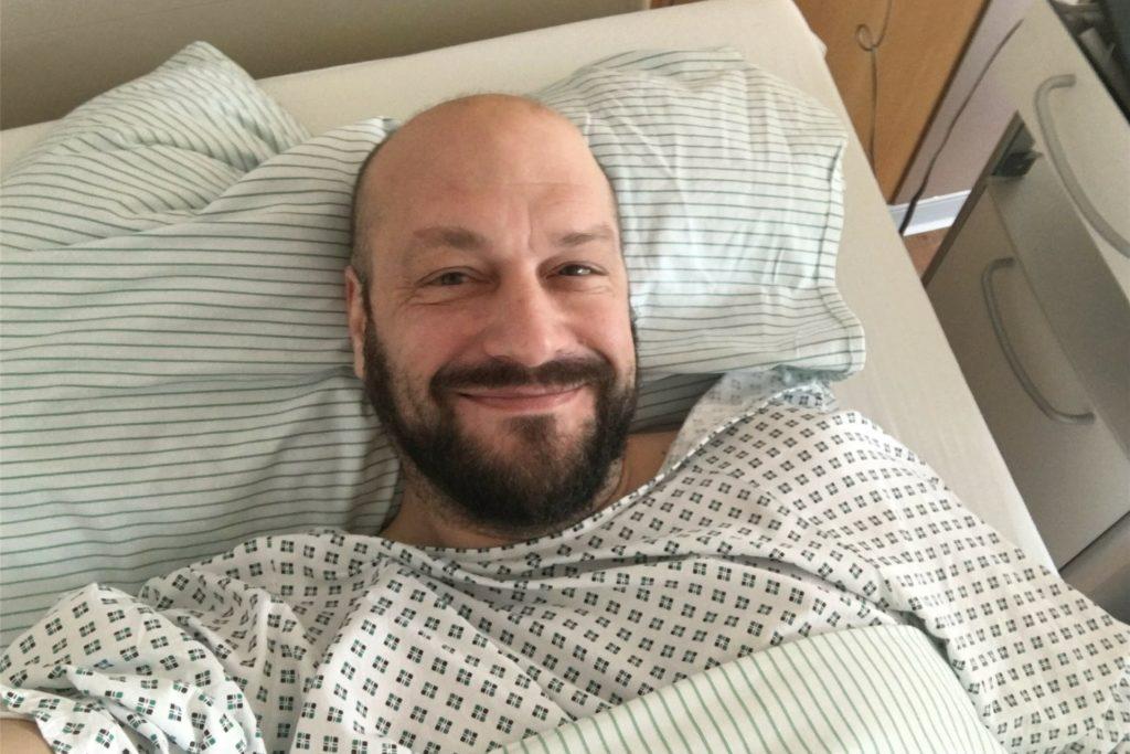 Axel Stach bei der Stammzellen-Spende vor zwei Jahren.